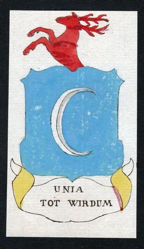 Unia tot Wirdum - Wirdum Unia Niederlande Wappen Adel coat of arms heraldry Heraldik Kupferstich engraving