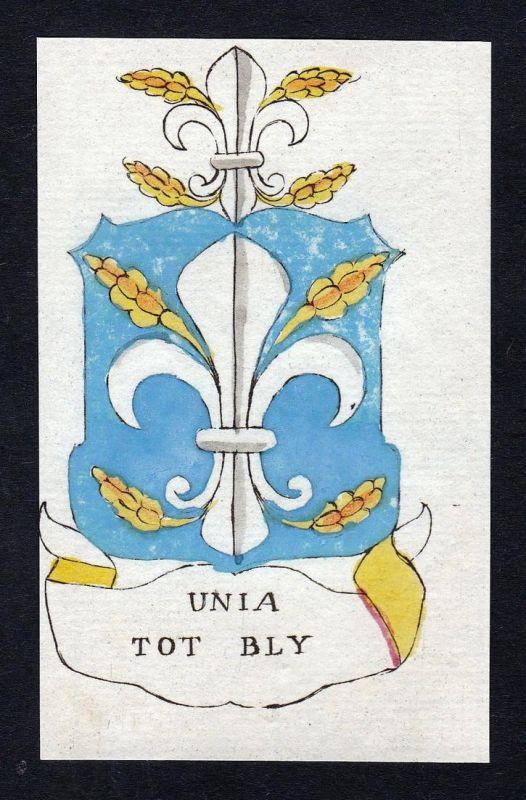 Unia tot Bly - Unia Bly Niederlande Friesland Wappen Adel coat of arms heraldry Heraldik Kupferstich engraving