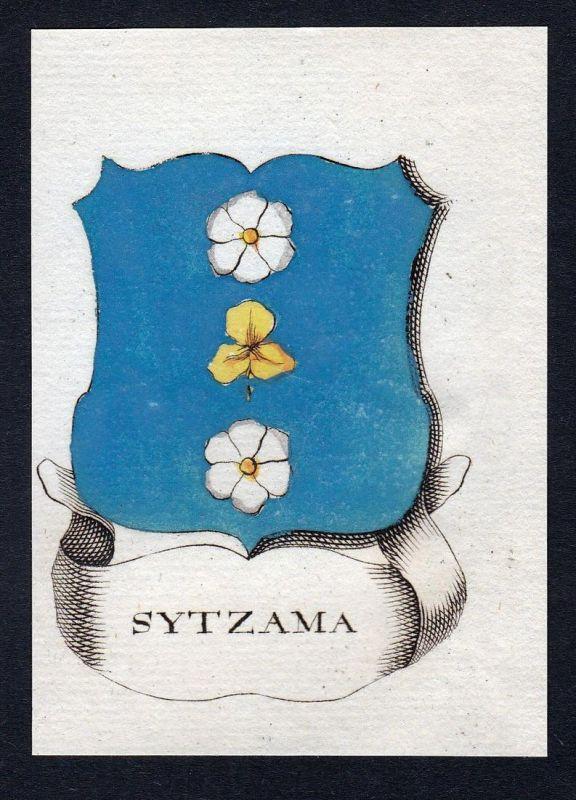 Sytzama - Maurits Pico Diederik Sytzama Wappen Adel coat of arms heraldry Heraldik Kupferstich engraving