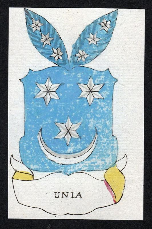 Unia - Unia Niederlande Friesland Wappen Adel coat of arms heraldry Heraldik Kupferstich engraving