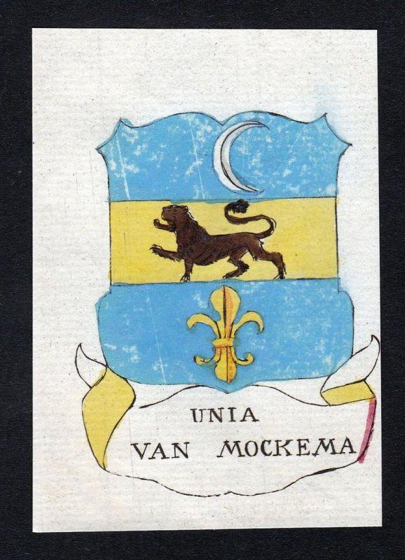 Unia van Mockema - Unia Mockema Niederlande Wappen Adel coat of arms heraldry Heraldik Kupferstich engraving