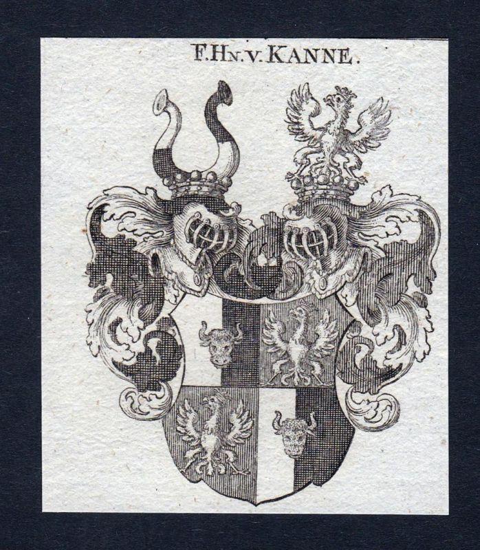 F.Hn. v. Kanne - Kanne Wappen Adel coat of arms heraldry Heraldik Kupferstich engraving