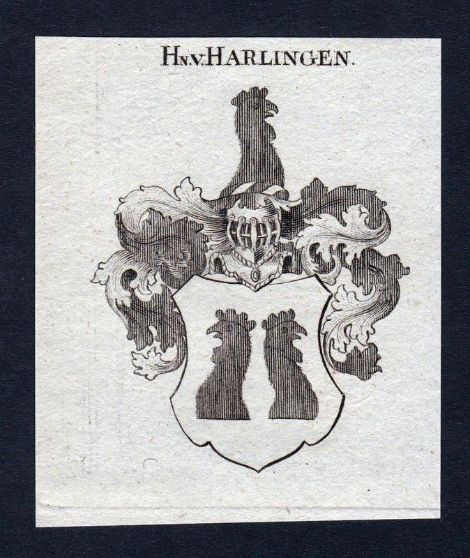 Hn. v. Harlingen - Harlingen Niederlande Wappen Adel coat of arms heraldry Heraldik Kupferstich engraving