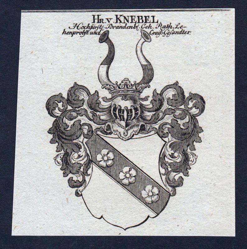 Hr. v. Knebel - Karl Ludwig Knebel Wappen Adel coat of arms heraldry Heraldik Kupferstich engraving