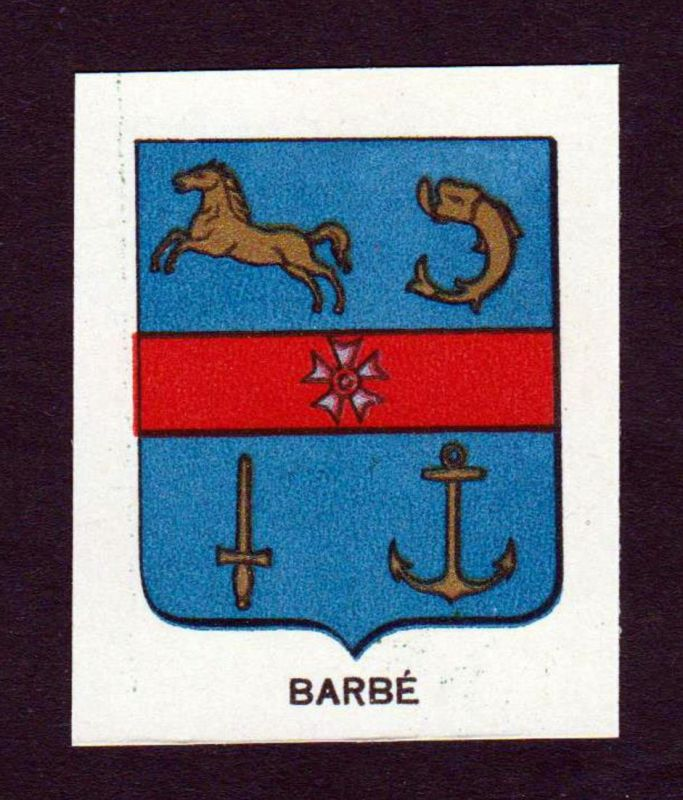 Barbe - Barbe Wappen Adel coat of arms heraldry Lithographie antique print