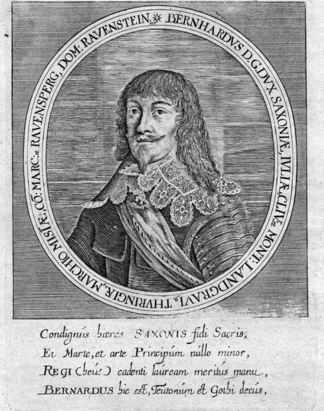 Bernhardus D. G. dux Saxoniae - Bernhard Sachsen Weimar Thüringen Portrait Kupferstich antique print