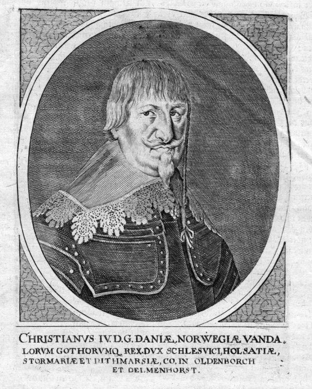 Christianus IV - Christian 4 Danmark Norge konge King Portrait Kupferstich antique print