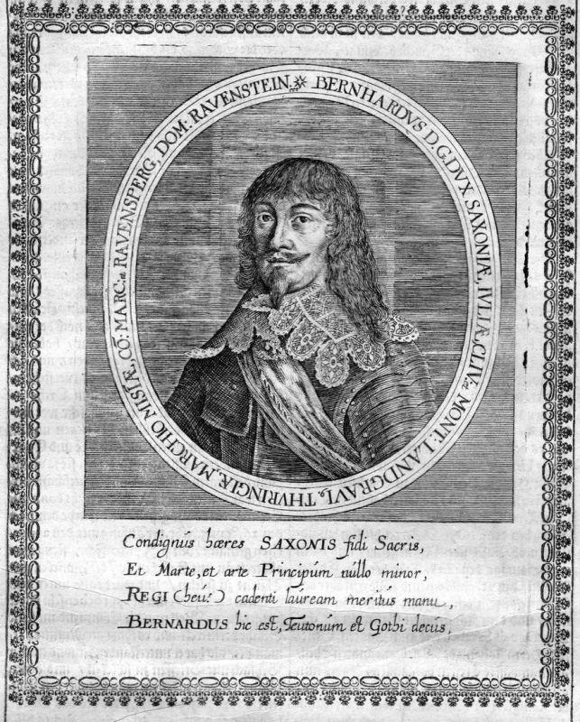 Bernhardus dux Saxoniae - Bernhard Sachsen Weimar Portrait Kupferstich antique print