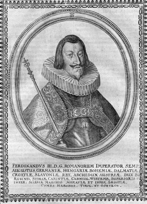 Ferdinandus III - Ferdinand III. HRR Kaiser König Portrait Kupferstich antique print