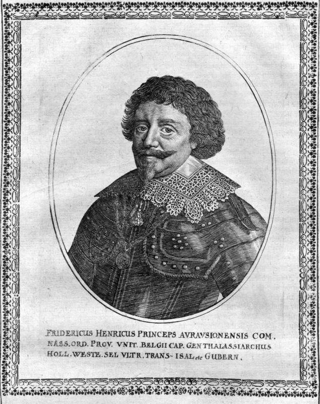 Fridericus Henricus - Friedrich Heinrich von Oranien Portrait Kupferstich antique print