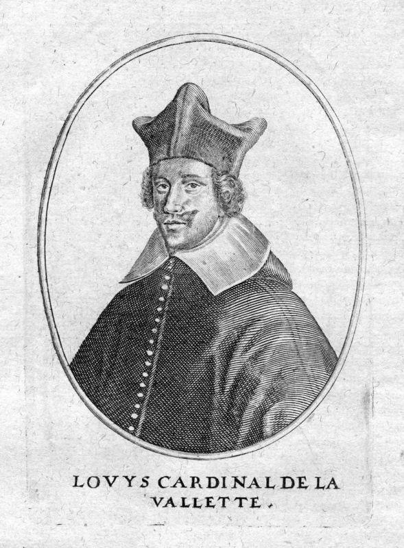 Louys Cardinal de la Vallette - Louis de Nogaret de La Valette Portrait Kupferstich antique print