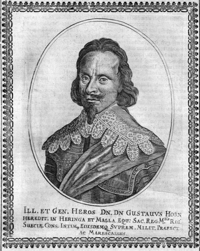 Gustavus Horn - Gustaf Carlsson Horn Björneborg Portrait Kupferstich antique print
