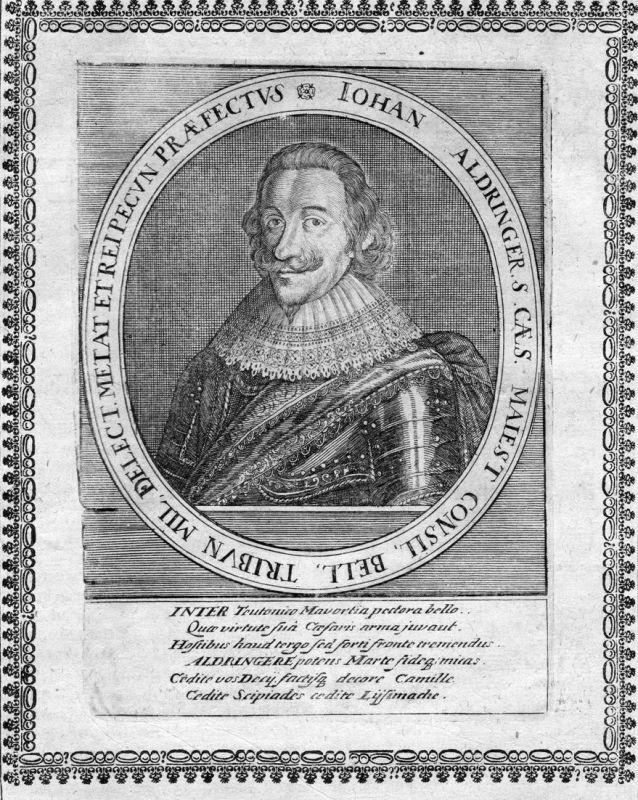 Iohan Aldringer - Johann von Aldringen General Portrait Kupferstich antique print