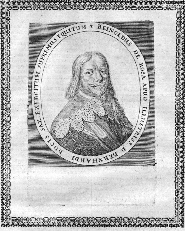 Reinholdus de Rosa Apud - Reinhold von Rosen General Portrait Kupferstich antique print