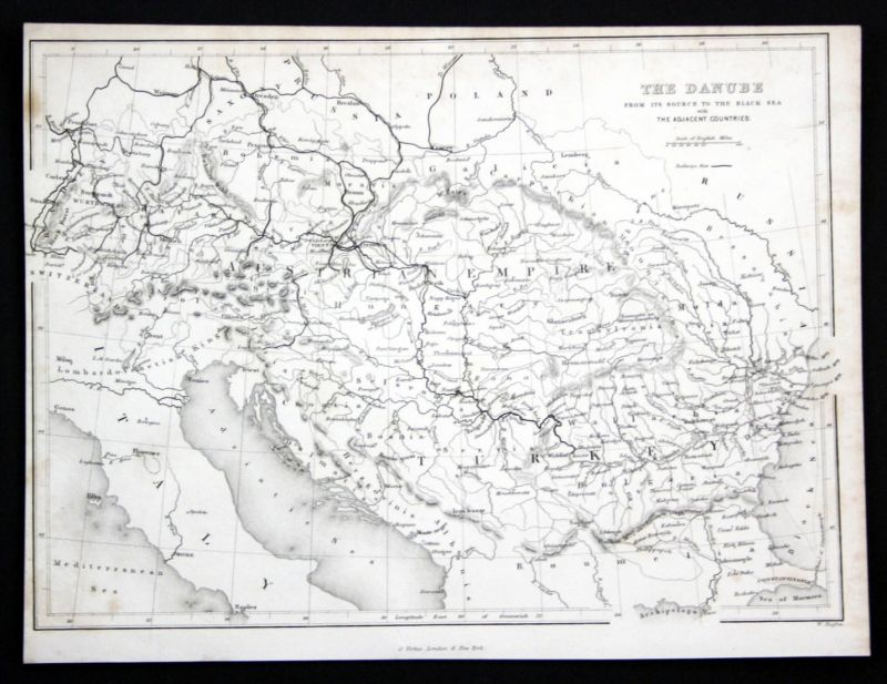 The Danube from its source to the black sea - Donau Danube map Karte Schwarzes Meer Stahlstich antique print