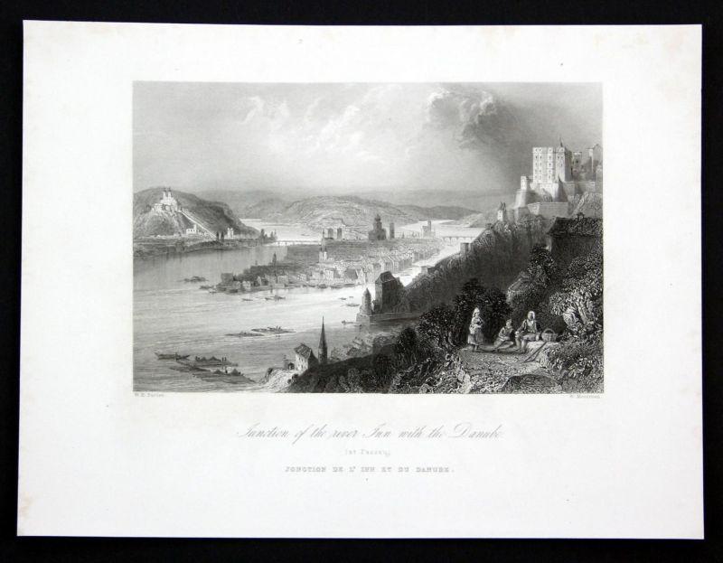 Junction of the river Inn with the Danube - Donau Danube Passau Inn Ansicht Stahlstich antique print