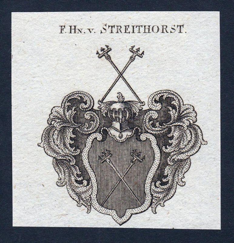 F. Hn. v. Streithorst - Streithorst Wappen Adel coat of arms heraldry Heraldik Kupferstich engraving