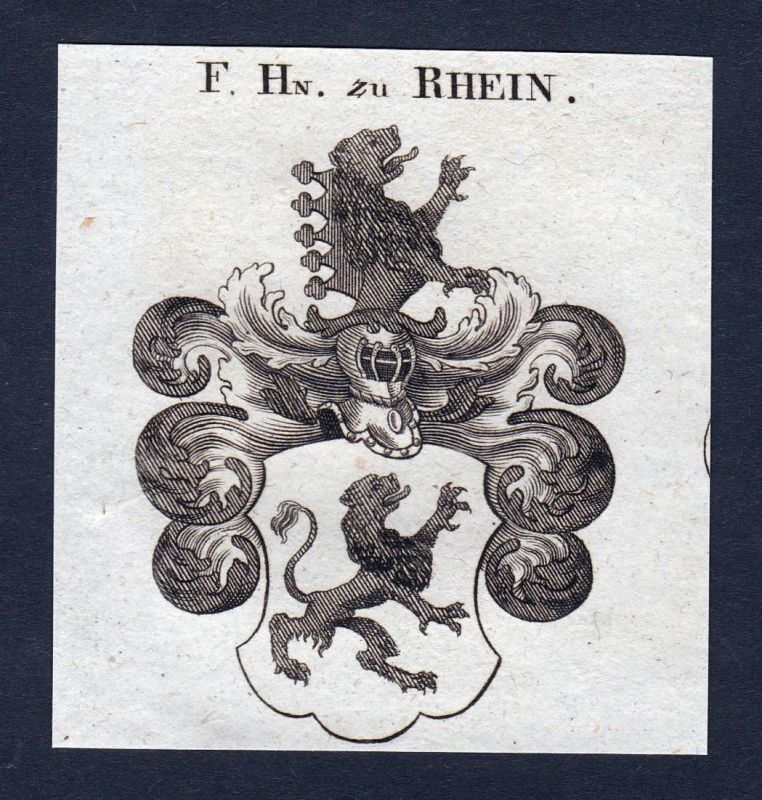 F. Hn. zu Rhein - Rhein Oberrhein Rhin Wappen Adel coat of arms heraldry Heraldik Kupferstich engraving