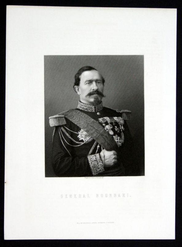 General Bourbaki - Charles Denis Bourbaki General France Portrait Stahlstich antique print