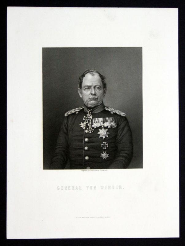 General von Werder - August von Werder General Portrait Stahlstich antique print