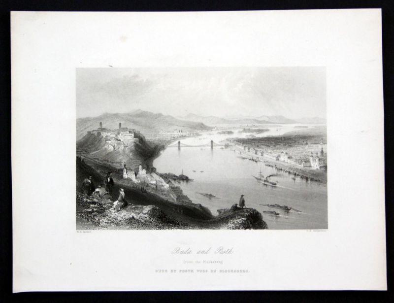 Buda and Pesth - Budapest Hungary Ungarn Donau Danube Ansicht Stahlstich antique print
