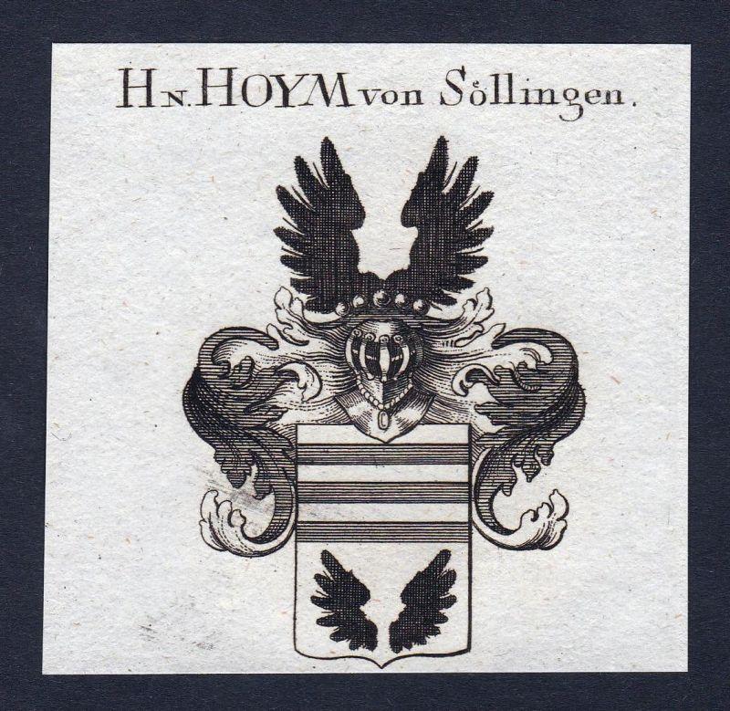 Hn. Hoym von Söllingen - Hoym Söllingen Anhalt Wappen Adel coat of arms heraldry Heraldik Kupferstich engravin