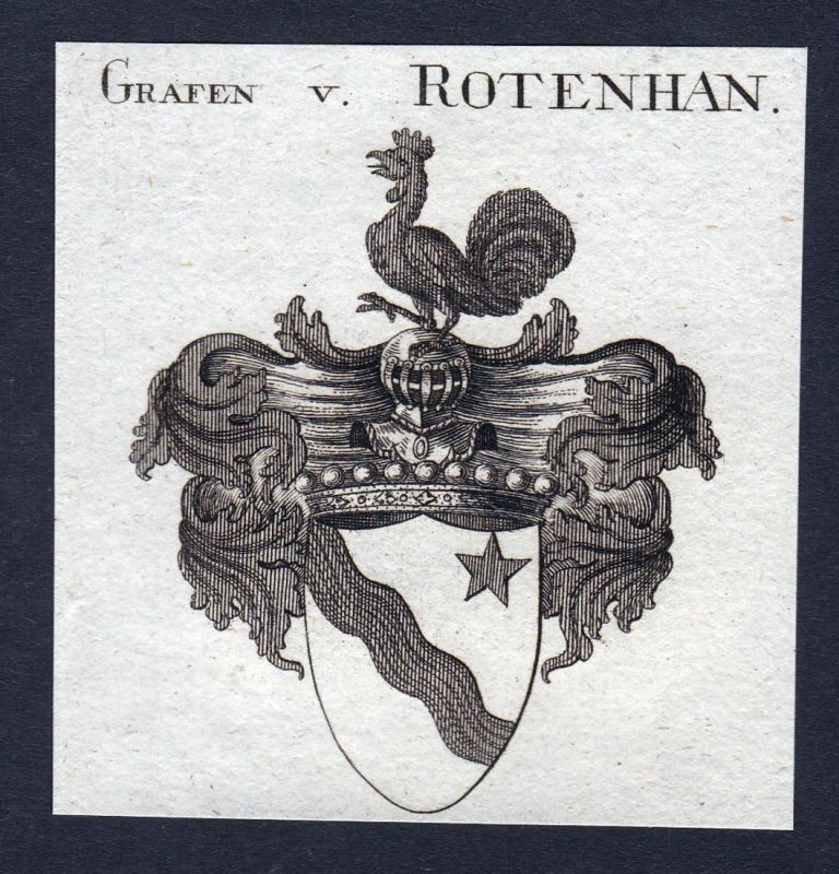 Grafen v. Rotenhan - Rotenhan Rottenhan Franken Wappen Adel coat of arms heraldry Heraldik Kupferstich engravi