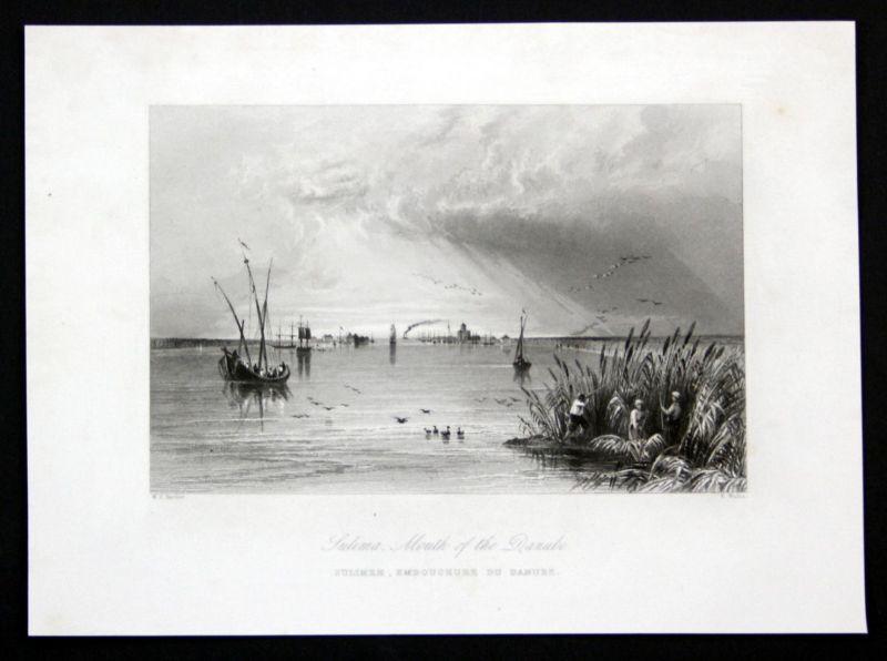 Sulima Mouth of the Danube - Sulima Danube Donau view Ansicht Stahlstich antique print