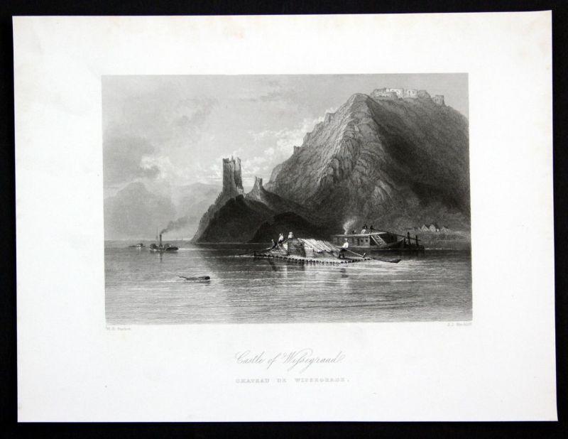 Castle of Wissegraad - Visegrad Donau Danube Ungarn Hungary Ansicht Stahlstich antique print