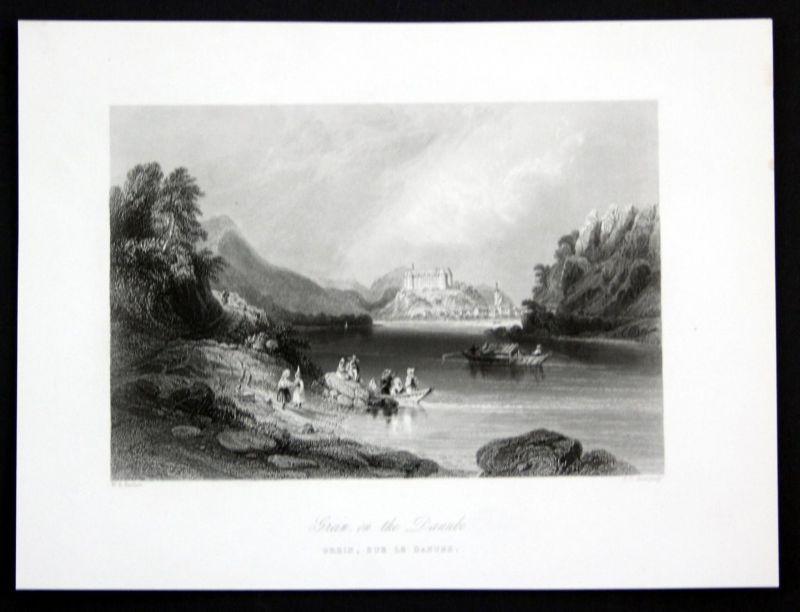 Grein on the Danube - Grein Donau Schloss Greinburg Ansicht Stahlstich antique print