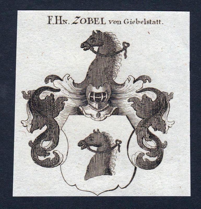 F. Hn. Zobel von Giebelstatt - Zobel Giebelstatt Giebelstadt Wappen Adel coat of arms heraldry Heraldik Kupfer