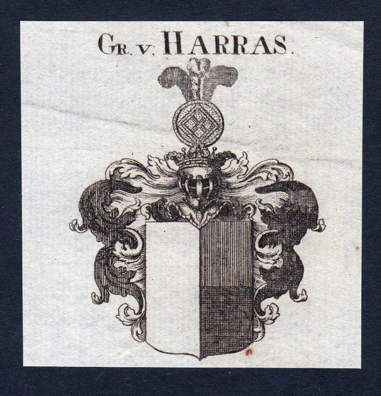 Gr. v. Harras - Harras Thüringen Erfurt Wappen Adel coat of arms heraldry Heraldik Kupferstich engraving
