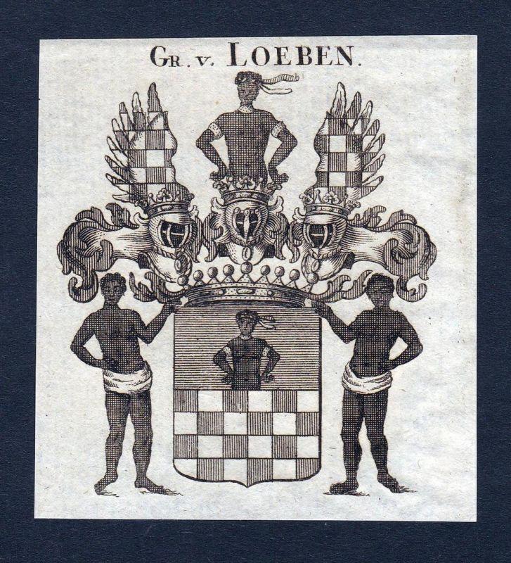 Gr. v. Loeben - Loeben Sachsen Schlesien Wappen Adel coat of arms heraldry Heraldik Kupferstich engraving