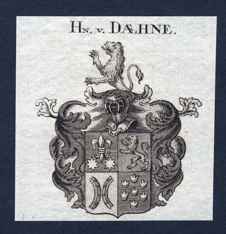 Hn. v. Daehne - Daehne Belgien Niederlande Wappen Adel coat of arms heraldry Heraldik Kupferstich engraving