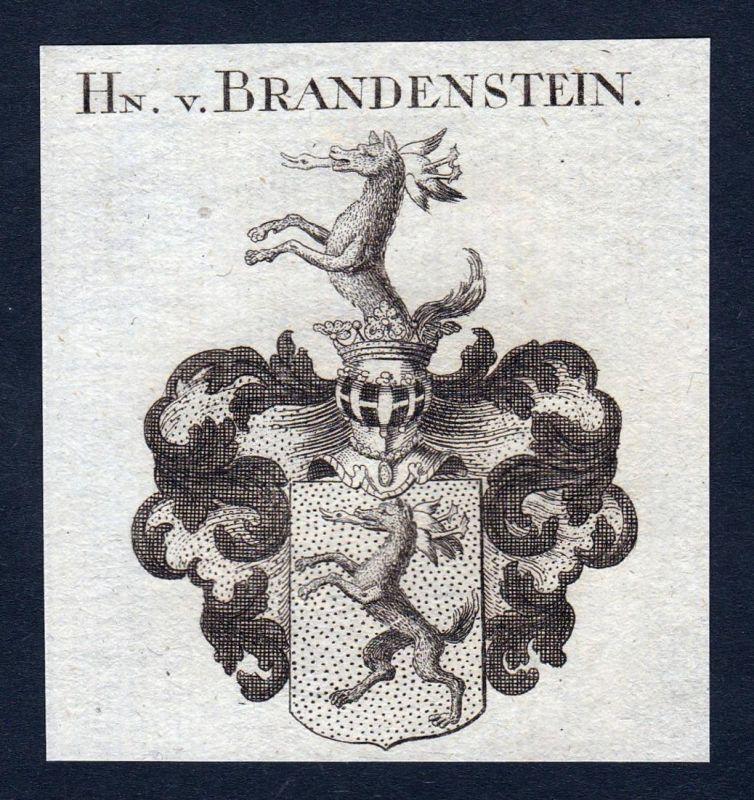 Hn. v. Brandenstein - Brandenstein Thüringen Wappen Adel coat of arms heraldry Heraldik Kupferstich engraving