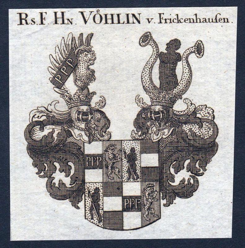 Rs. F. Hn. Vöhlin v. Frickenhausen - Vöhlin Frickenhausen Baden-Württemberg Wappen Adel coat of arms heraldry