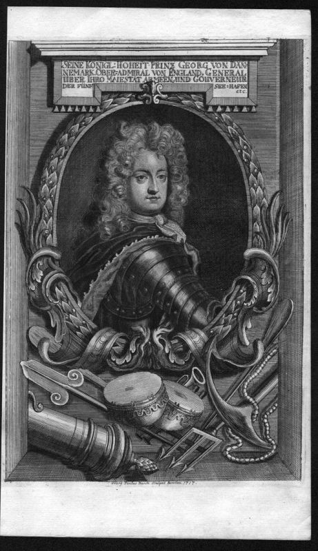 Prinz Georg von Dänemark - Georg von Dänemark Prins Jorgen Danmark Portrait Kupferstich antique print