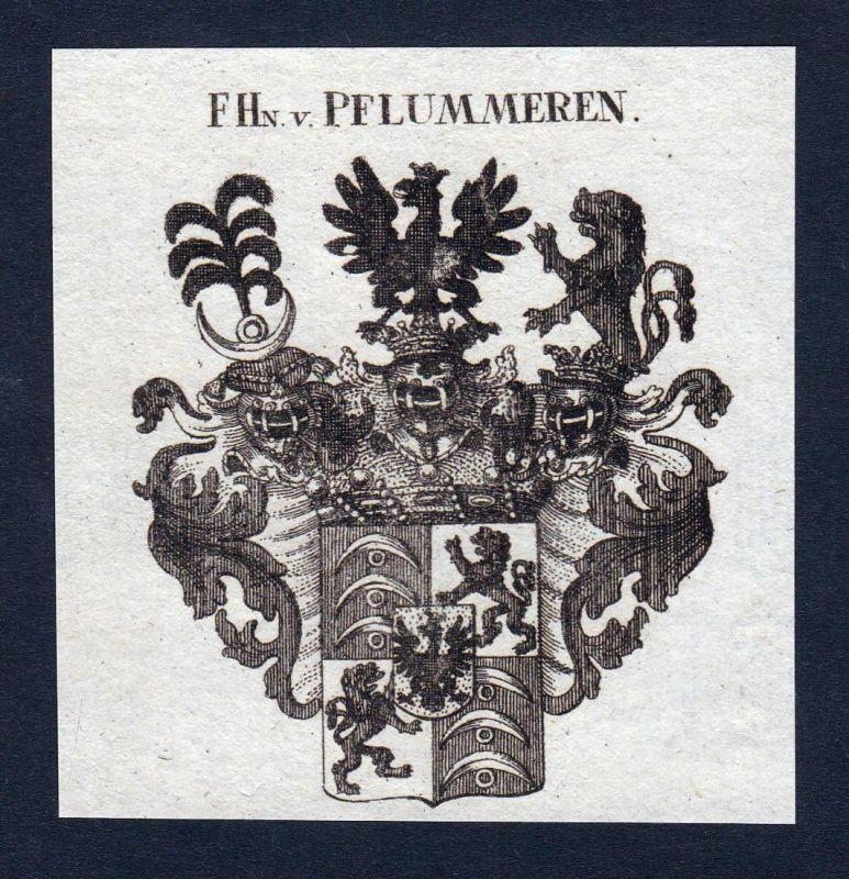 F.Hn. v. Pflummeren - Pflummeren Pflummern Wappen Adel coat of arms Kupferstich antique print heraldry Heraldi