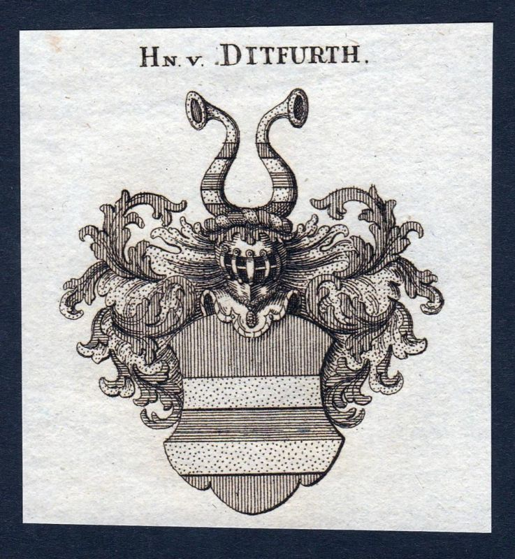 Hn. v. Ditfurth - Ditfurth Sachsen-Anhalt Wappen Adel coat of arms heraldry Heraldik Kupferstich engraving