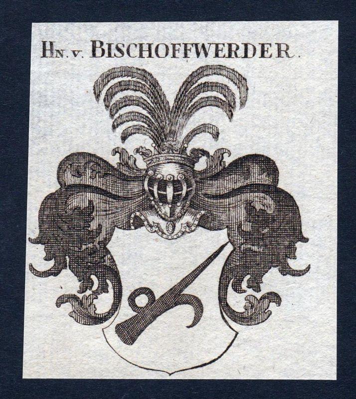 Hn. v. Bischoffwerder - Bischoffwerder Wappen Adel coat of arms Kupferstich antique print heraldry Heraldik