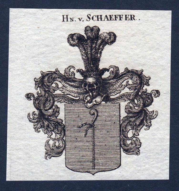 Hn. v. Schaeffer - Schaeffer Schäffer Schäfer Wappen Adel coat of arms heraldry Heraldik Kupferstich engraving