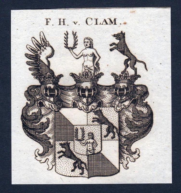 F.H. v. Clam - Clam Österreich Wappen Adel coat of arms heraldry Heraldik Kupferstich engraving