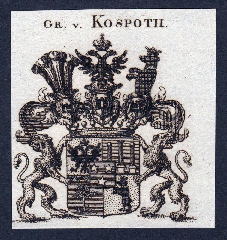 Gr. v. Kospoth - Kospoth Thüringen Wappen Adel coat of arms heraldry Heraldik Kupferstich engraving