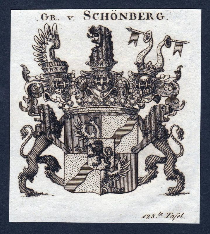 Gr. v. Schönberg - Schönberg Sachsen Thüringen Wappen Adel coat of arms heraldry Heraldik Kupferstich engravin