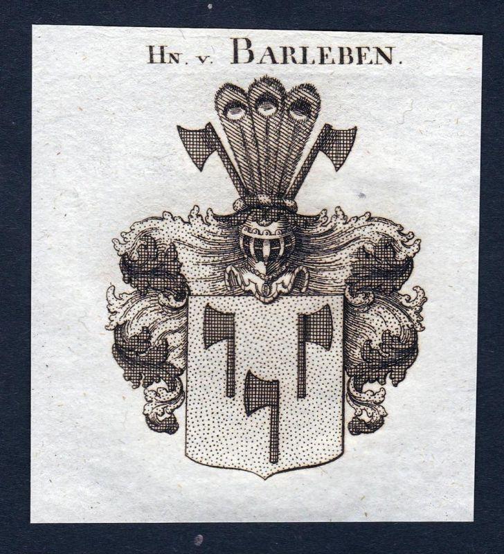 Hn. v. Barleben - Barleben Sachsen-Anhalt Wappen Adel coat of arms heraldry Heraldik Kupferstich engraving