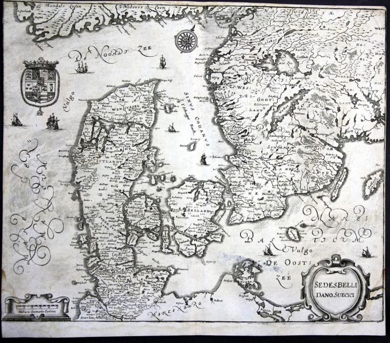 Sedes Belli Dano Suecici - Danmark Dänemark Denmark Sverige Karte map Plan Kupferstich antique print