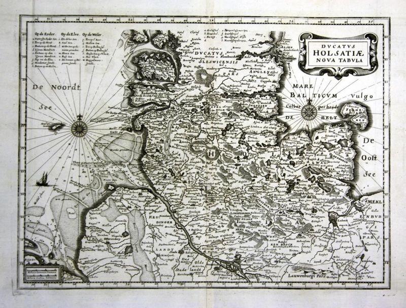 Ducatus Holsatiae Nova Tabula - Hamburg Lübeck Flensburg Kiel Karte map Plan Kupferstich antique print