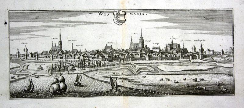 Wismaria - Wismar Gesamtansicht Ansicht Panorama view Kupferstich antique print