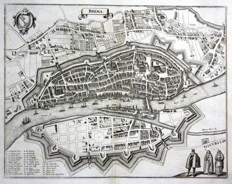 Brema - Bremen Weser Hansestadt Karte map Plan Kupferstich antique print