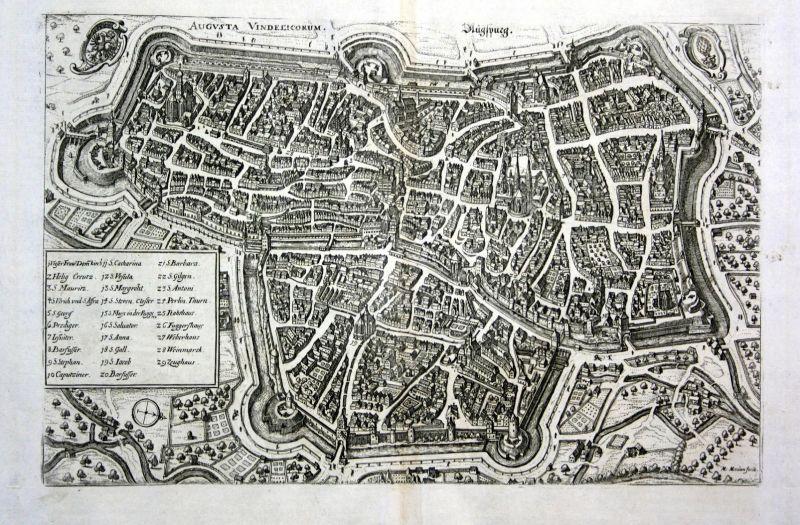 Augspurg - Augsburg Gesamtansicht Karte map Plan Kupferstich antique print
